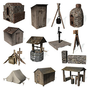 3d historical small construction wall model
