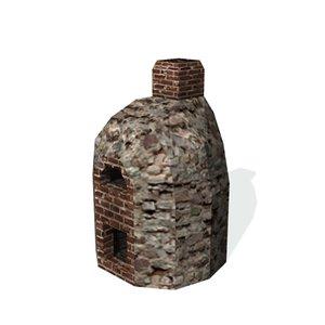 3d model historical brick oven baking
