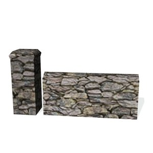 historical stone wall sections 3ds free