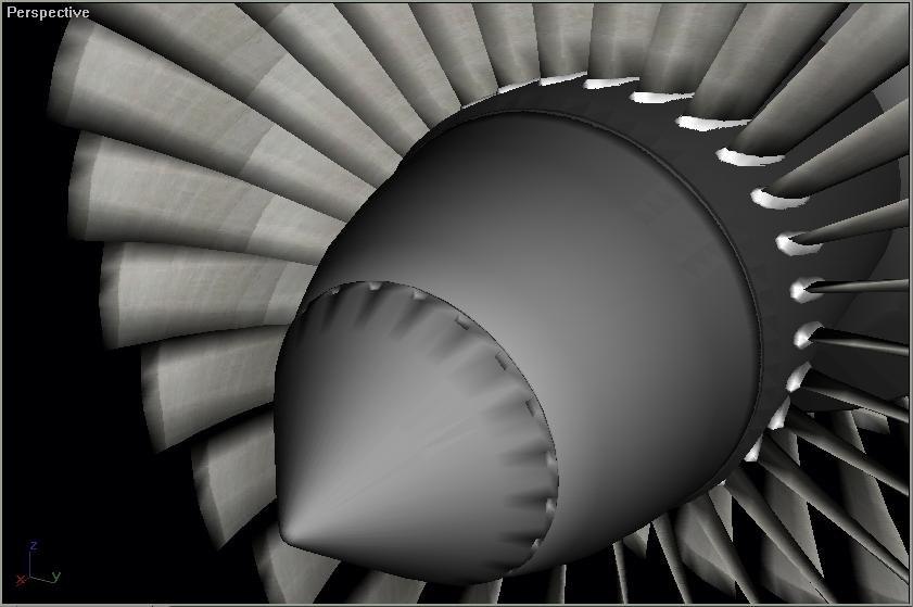 3d model rotating parts turbine jet