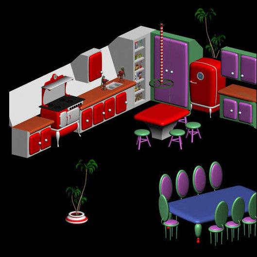 3d pz3 santa kitchen set cartoon