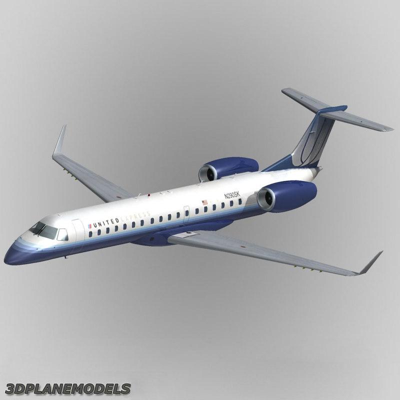 3d embraer erj-145 united express