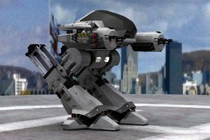 ed 209 robocop white 3d model