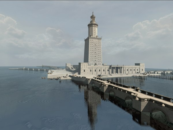 wonders lighthouse alexandria pharos 3d model