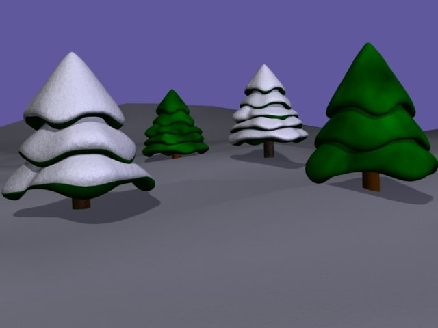 lightwave pine trees snow