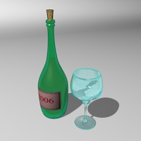 3ds max bottle drinking glasses cartoon