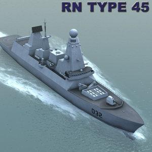 3d model royal navy type45 destroyer