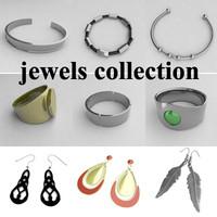 3d model of jewels earings bracelets