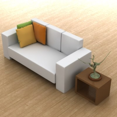sofa furniture chaise 3d 3ds
