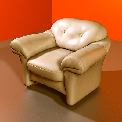 3d model leather armchair