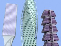 3 unique skyscrapers building 3d model