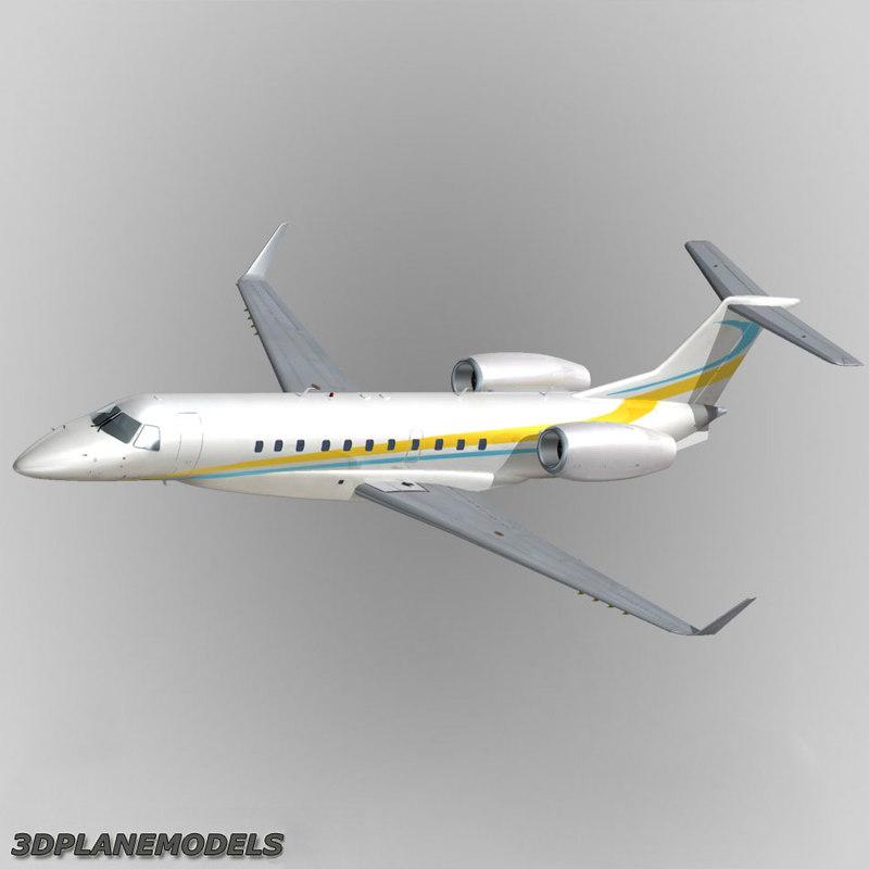embraer erj-135bj business jet 3d model