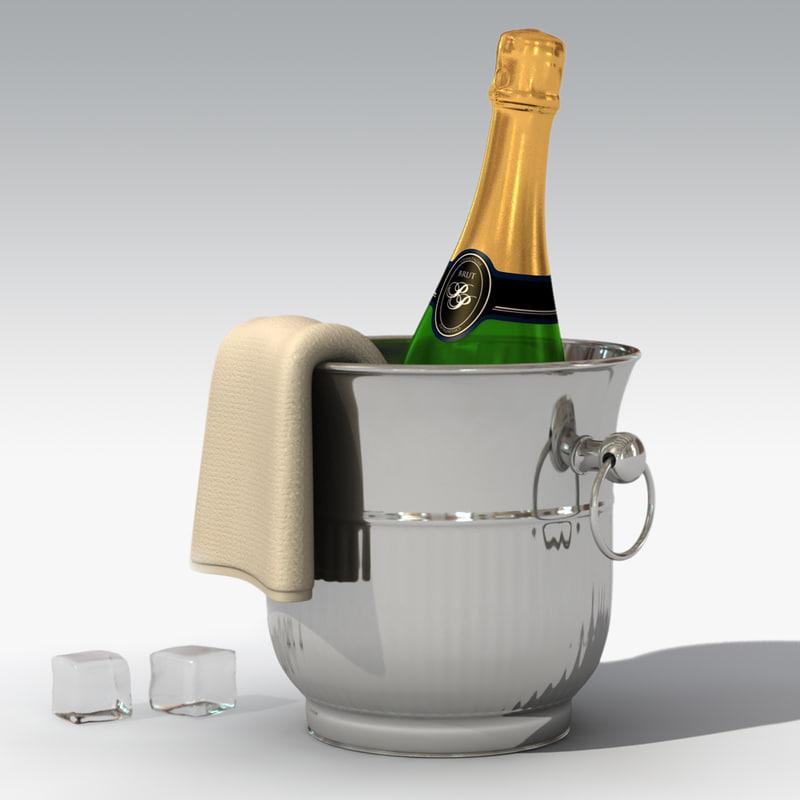 champagne bucket bottle 3d model