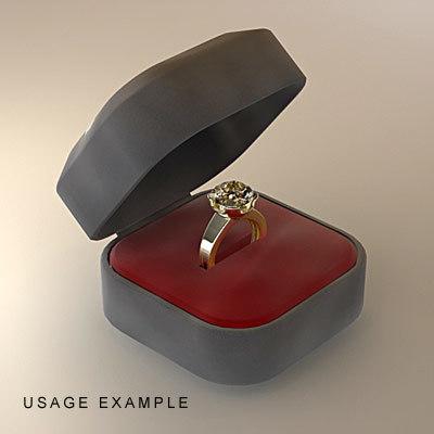 3dsmax gold ring gift box