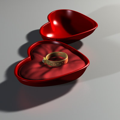 3d heart gift box ring model