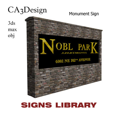 monument sign 3d max