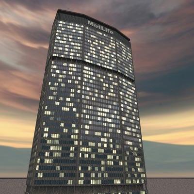 3d night metlife building