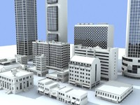 3d model 16 buildings structure skyscrapers