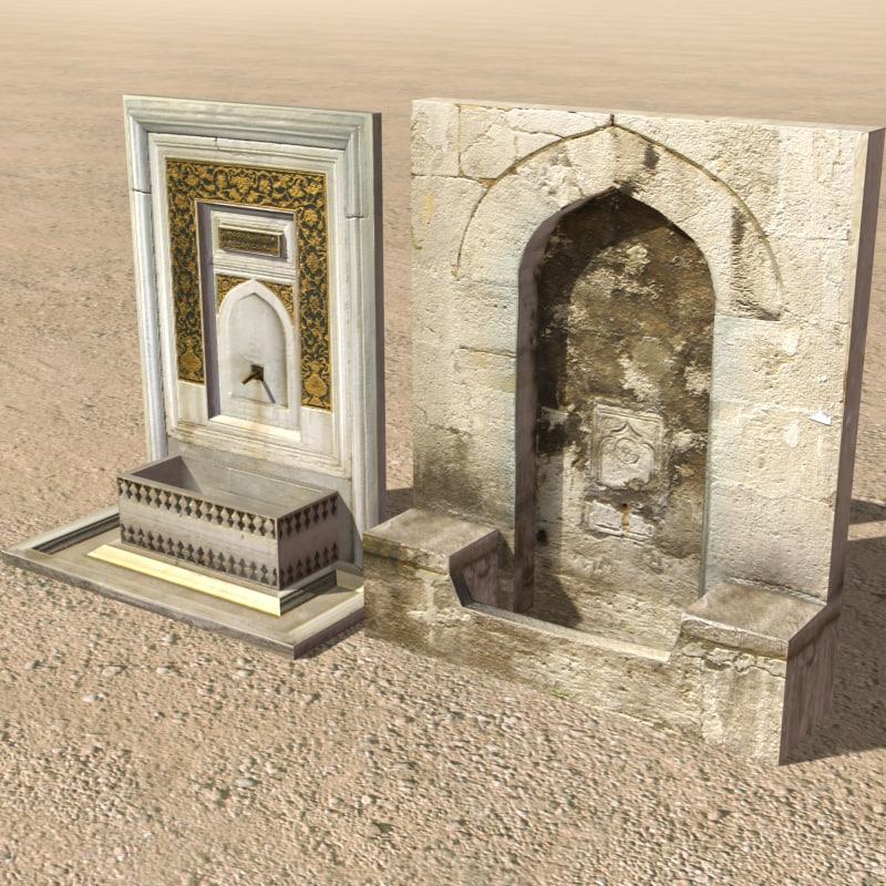 arab fountain element fountain02 3d model