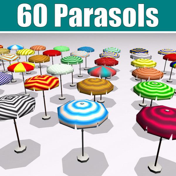 60 parasols 3d model