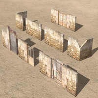 3d arab city element wall model