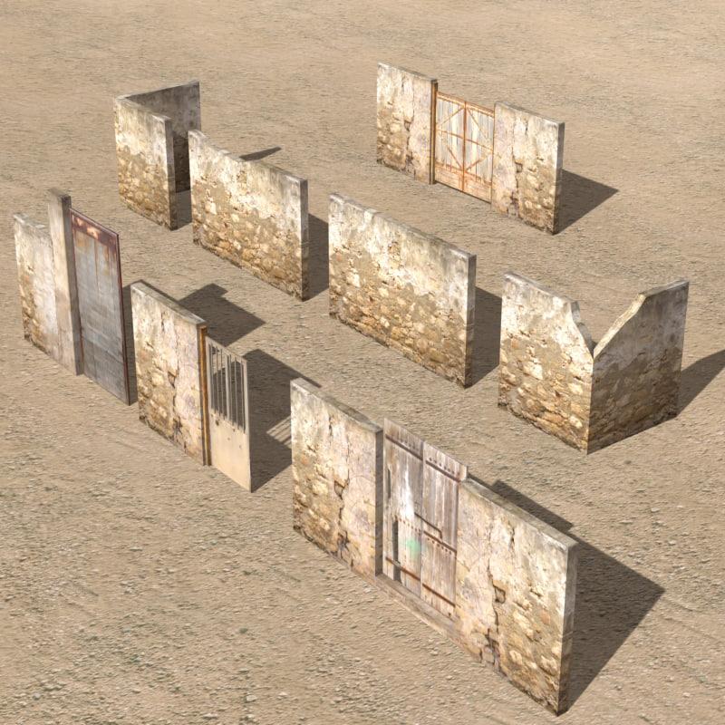 3d arab city element wall model