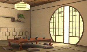 3d japanese interior