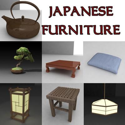 japan furniture japanese 3d model