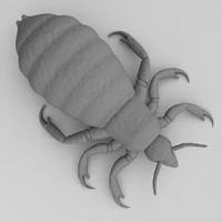 3d human hair louse model