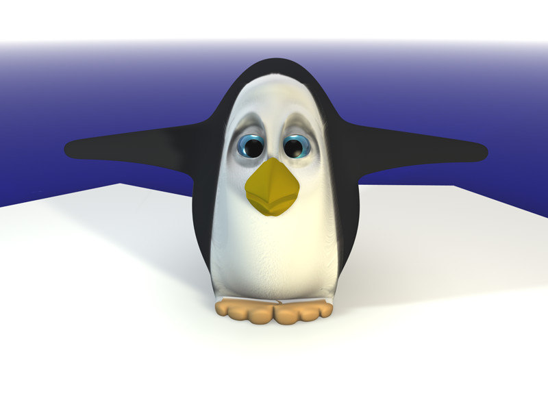 3d funny penguin character model