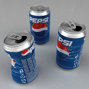 3d pepsi aluminum damaged model