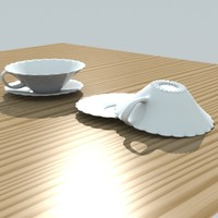 fancy tea cup saucer 3d lwo