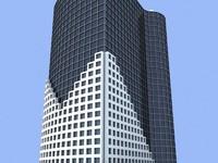 3ds max unique building 5 skyscrapers