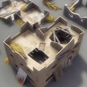 ruined house structures 3d 3ds
