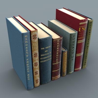 set books 3d model