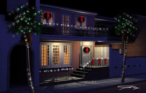 3d model row house christmas charleston