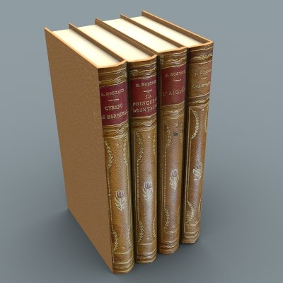 3d set books model