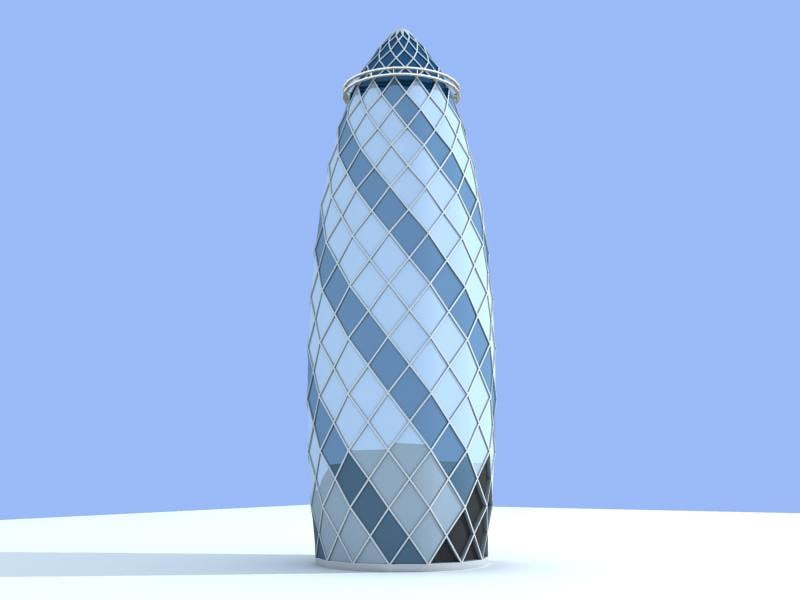 gherkin buildings 3d model