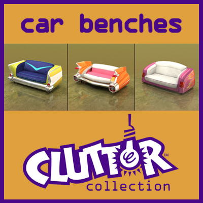 car benches clutter couches 3d model