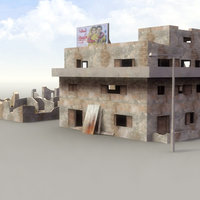 ruined house structures 3d model