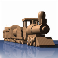wooden train toy cars 3d 3ds
