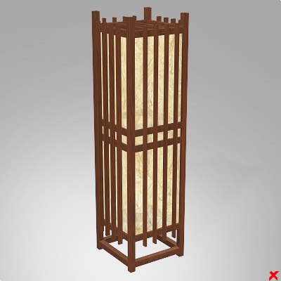 3d model of lamp standing japanese