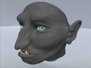 gremlin face eyes 3d lwo
