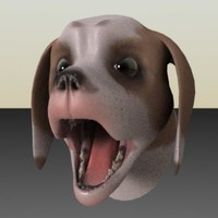 3d talking dog rigged head model