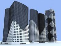 3d model 3 buildings skyscrapers