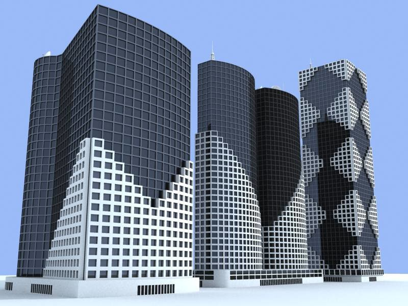 3d model 3 buildings skyscrapers