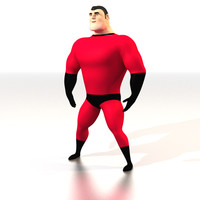 comic super hero 3d model