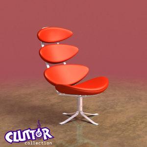 3d model futuristic corona chair