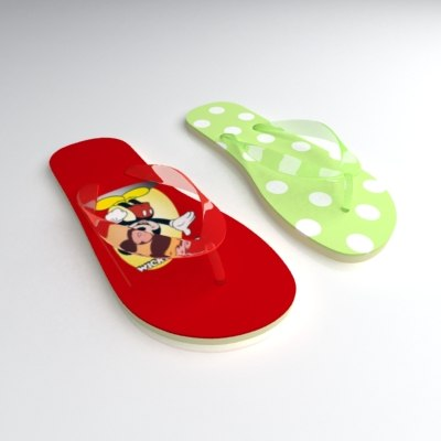 3ds max flipflops shoes slipper