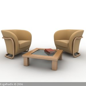 armchair chair table 3d 3ds